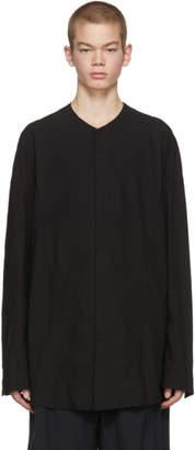 Julius Black Seamed Collarless Shirt
