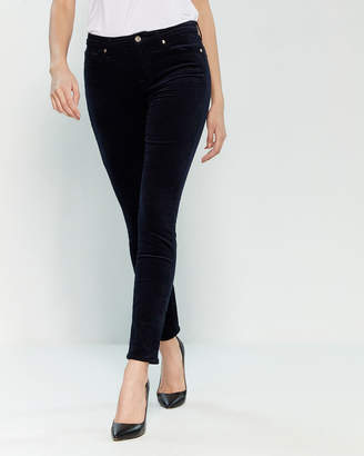 7 For All Mankind Navy Corduroy Ankle Skinny Pants