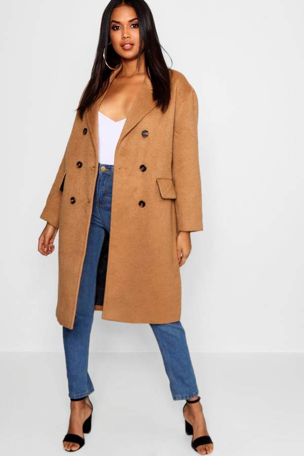 Brushed Wool Look Double Breasted Coat
