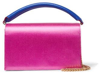 Diane von Furstenberg Soirée Color-block Satin And Leather Shoulder Bag - Pink