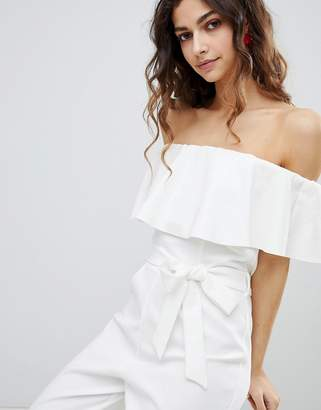 Miss Selfridge off the shoulder jumpsuit with tie waist in white