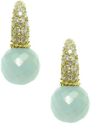 Judith Ripka 14K Clad Milky Aquamarine & Diamonique Earrings