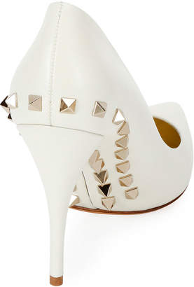 Valentino Jaw-Studs Point-Toe Leather Pumps