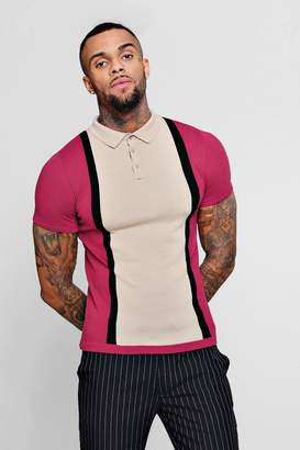 boohoo Colour Block Short Sleeve Knitted Polo