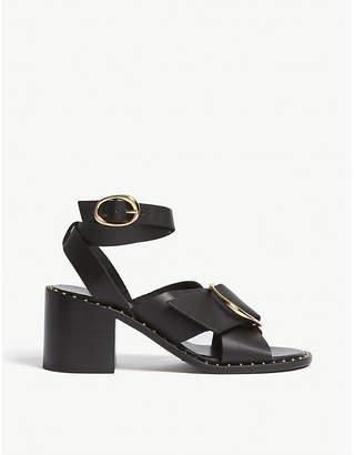 Maje Felia leather block heel sandals