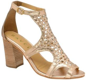 Ravel Womens Mid Heel Leather Sandals - Gold