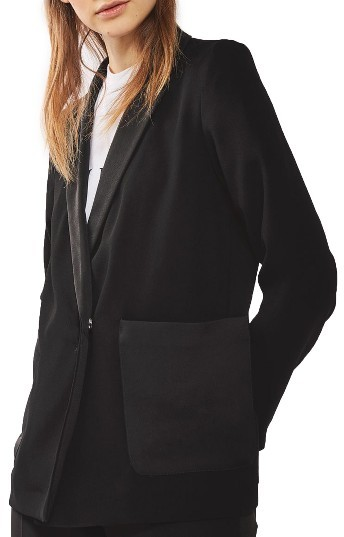 Topshop Women's Topshop Satin Pocket Blazer