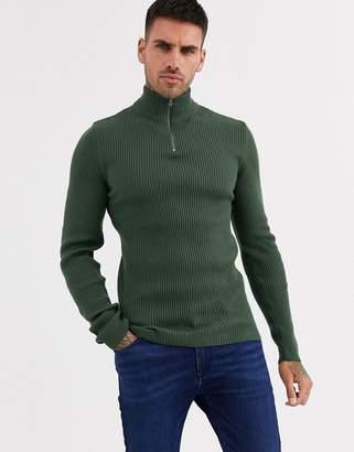 Asos Design DESIGN Muscle fit wide ribbed half zip jumper in Khaki