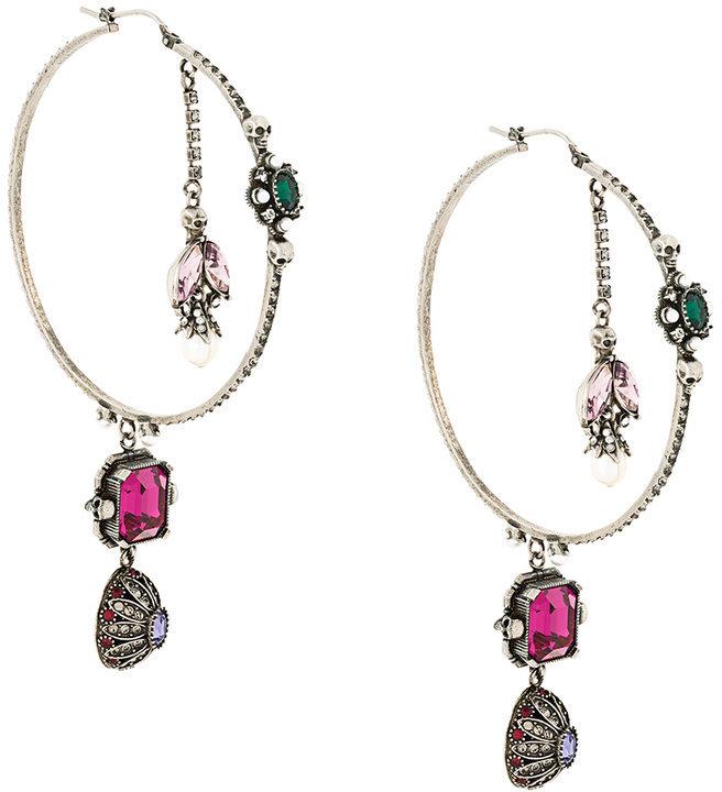 Alexander McQueenAlexander McQueen embellished hoop earrings