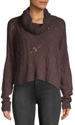 Free People Cable-Knit Long-Sleeve Sweater