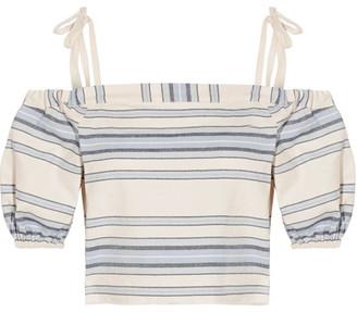 Halima Off-the-shoulder Striped Cotton And Linen-blend Top - Sky blue