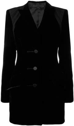 Alexander Wang Draped-jersey And Velvet Blazer-style Dress