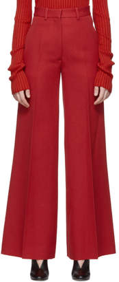 Victoria Beckham Red High-Waisted Wide-Leg Trousers