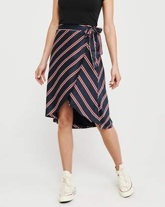Abercrombie & Fitch Satin Wrap Midi Skirt