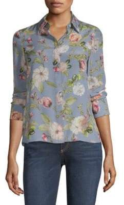 Alice + Olivia Willa Floral-Print Silk Top
