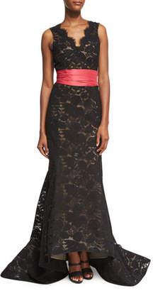 Oscar de la Renta Sleeveless Lace Trumpet Gown with Sash, Black