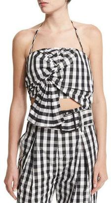 Kendall + Kylie Knot-Front Halter Top, Gingham $98 thestylecure.com