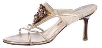 Oscar de la Renta Embellished Slide Sandals