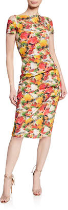 Chiara Boni Floral-Print Short-Sleeve Dress w/ Grommet Details & Asymmetric Shirred Skirt