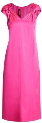 Sies Marjan - Kit Twisted Front Silk Satin Dress - Womens - Pink