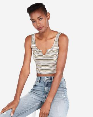 Express One Eleven Ribbed Split Neck Cropped Tank
