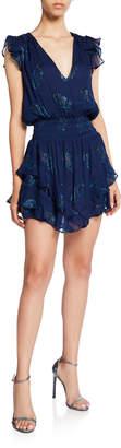 Ramy Brook Simone Silk Metallic Smocked Ruffle Mini Dress