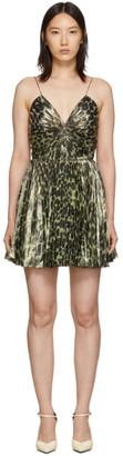 Saint Laurent Gold Leopard Metallic Pleated Short Dress