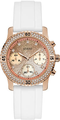 GUESS Women's White Silicone Strap Watch 38mm