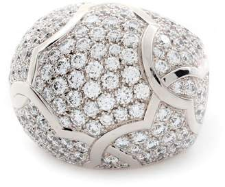 Chanel 18K White Gold 3.80ct Diamond Pave Dome Ring Size 5.25