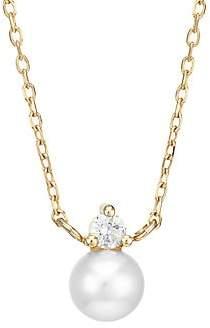 Mizuki Women's 14K Yellow Gold, 7MM Freshwater Pearl & Diamond Solitaire Choker Necklace