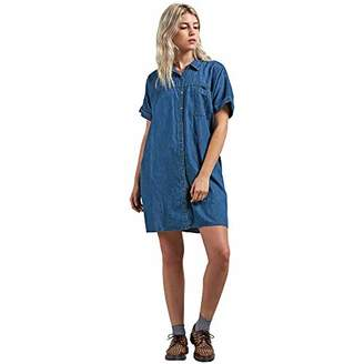 Volcom Junior's Yo Shortie Oversize Button Up Mini Dress