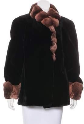 Fur Chinchilla-Trimmed Sheared Jacket