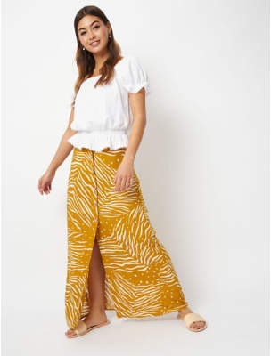 a01881a552 George Mustard Animal Print Button Front Maxi Skirt