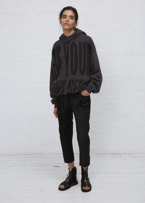 Haider Ackermann anthracite be your own hero hoodie $650 thestylecure.com