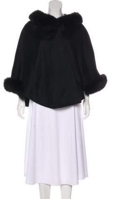 Sofia Cashmere Fur-Trimmed Wool & Cashmere Poncho