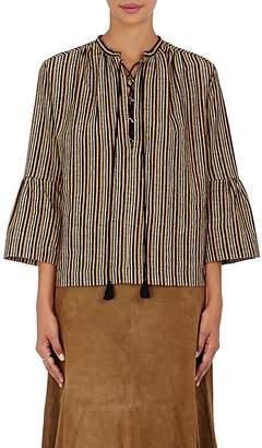 Masscob Women's Striped Jacquard Peasant Blouse