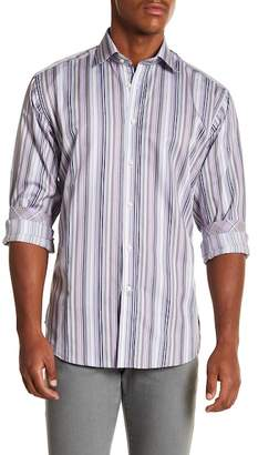 Thomas Dean Multistripe Long Sleeve Sport Fit Shirt