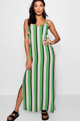 boohoo Plunge Striped Maxi Dress