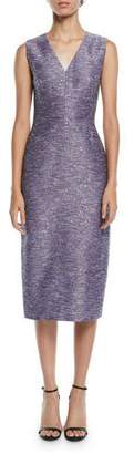 Lela Rose V-Neck Sleeveless Sequin-Embroidered Tweed Sheath Cocktail Dress