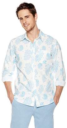 Isle Bay Linens Men's Long Sleeve Paisley Prints Woven Slim Hawaiian Shirt M