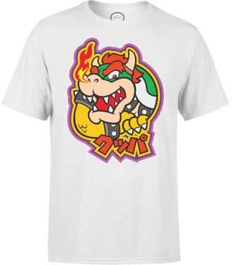 Nintendo Super Mario Bowser Kanji Men's White T-Shirt