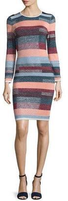 Parker Lynn Metallic-Striped Knit Dress $445 thestylecure.com