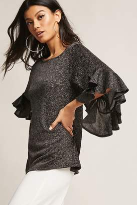 Forever 21 Lurex Marled Knit Ruffle Sleeve Top