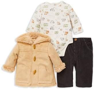 Little Me Boys' Sherpa Coat, Woodland Animals Bodysuit & Corduroy Pants Set - Baby