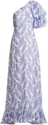 Saloni Danielle fern-print one-shoulder silk dress