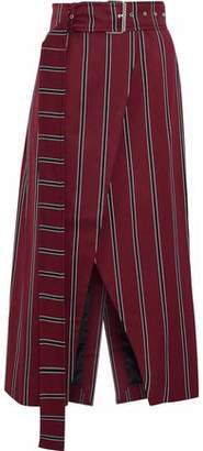 SOLACE London Apolline Striped Wool And Cotton-Blend Wrap Skirt