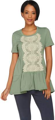 Logo By Lori Goldstein LOGO Lounge by Lori Goldstein French Terry Top with Lace Front