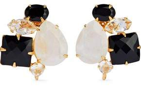 Bounkit Gold-Tone Onyx Moonstone And Crystal Earrings