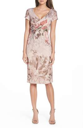 Adrianna Papell Floral Border Print Cocktail Dress