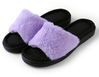 AERUSI Women's Light And Fluffy Soft Plush Sandal Slippers with No-Slip Rubber Sole For Indoor, Outdoor, Spa Use (Purple)